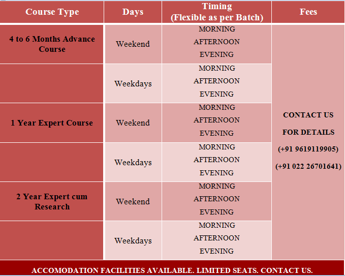 Courses and fees structure